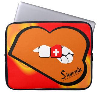 Sharnia's Lips Switzerland Laptop Sleeve Orange Lp