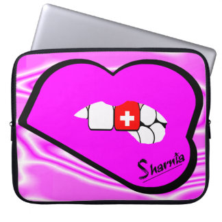 Sharnia's Lips Switzerland Laptop Sleeve Pink Lips