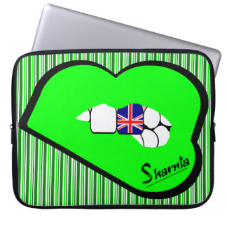 Sharnia's Lips UK Laptop Sleeve (Grn Lips)