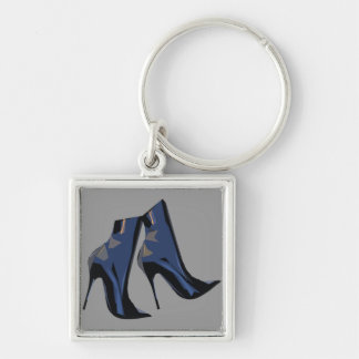 Sharp Boots (blue) Ankle Boot Art Silver-Colored Square Keychain