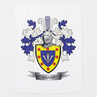 Sharp Family Crest Coat of Arms Baby Blanket