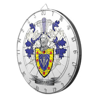 Sharp Family Crest Coat of Arms Dartboard