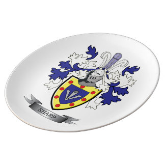 Sharp Family Crest Coat of Arms Plate