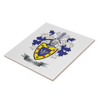Sharp Family Crest Coat of Arms Tiles