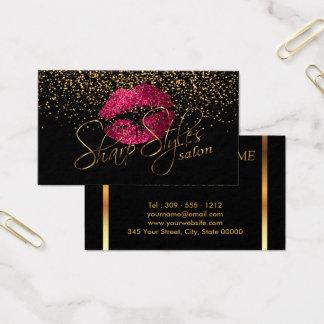 Sharp Gold Confetti & Hot Pink Lips Business Card