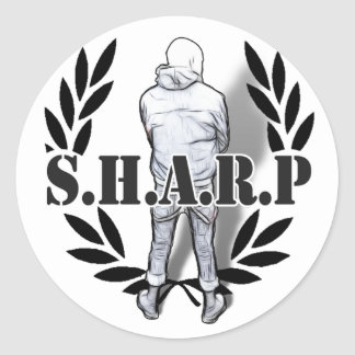 sharp skin standing classic round sticker