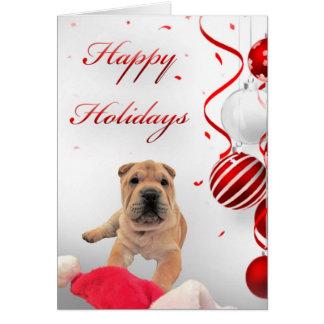 Sharpei Happy Holidays Card