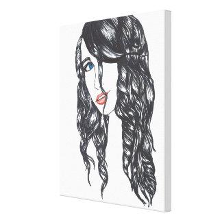 Sharpie Girl Stretched Canvas Print (Medium)