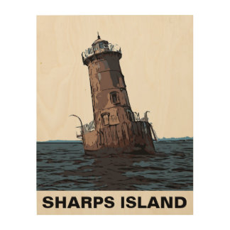SHARPS ISLAND LIGHT WOOD PRINT