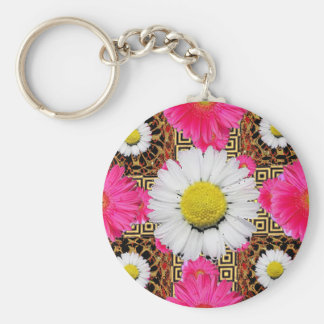 Shasta Daisy & Pink Gerbera Gifts Basic Round Button Keychain