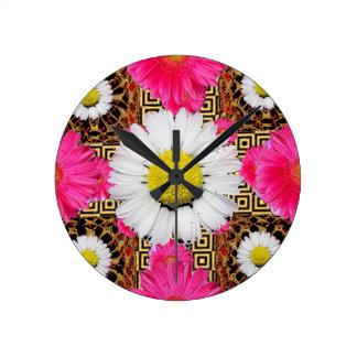 Shasta Daisy & Pink Gerbera Gifts Clock