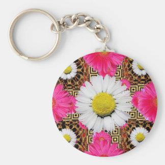 Shasta Daisy & Pink Gerbera Gifts Keychain