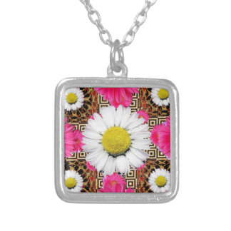 Shasta Daisy & Pink Gerbera Gifts Silver Plated Necklace
