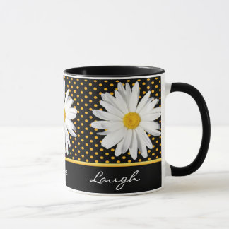 "Shasta Daisy Polka Dot ""Live, Love, Laugh"" Mug"