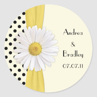 Shasta Daisy Polka Dot Personalized Wedding Classic Round Sticker