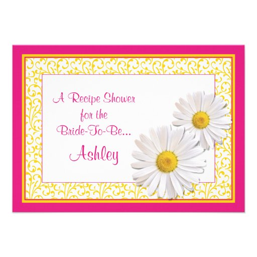 Shasta Daisy Recipe Theme Bridal Shower Invitation