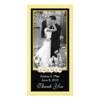 Shasta Daisy Yellow Black Wedding Thank You Card