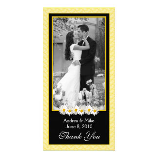 Shasta Daisy Yellow Black Wedding Thank You Photo Card Template