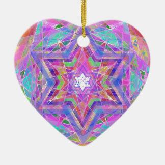 Shatters crystal star. ceramic heart ornament