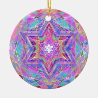 Shatters crystal star. round ceramic ornament