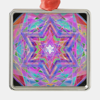 Shatters crystal star. Silver-Colored square ornament