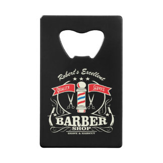Shave and a Haircut Barbershop Monogram Gift Credit Card Bottle Opener
