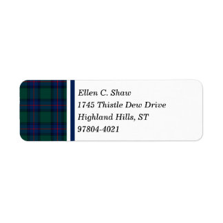 Shaw Clan Green and Royal Blue Scottish Tartan Return Address Label