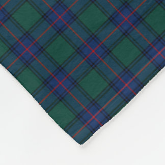 Shaw Clan Royal Blue and Green Tartan Fleece Blanket