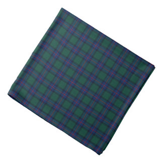 Shaw Clan Tartan Green and Royal Blue Plaid Bandana