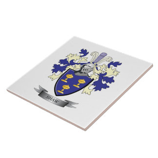 Shaw Family Crest Coat of Arms Ceramic Tile