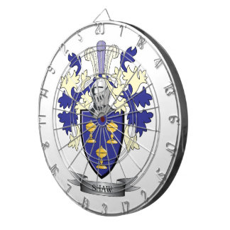 Shaw Family Crest Coat of Arms Dartboard With Darts