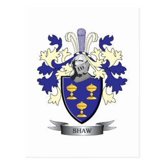 Shaw Family Crest Coat of Arms Postcard