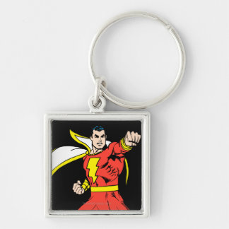 Shazam Ready to Fight Silver-Colored Square Keychain