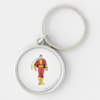SHAZAM Silver-Colored ROUND KEYCHAIN