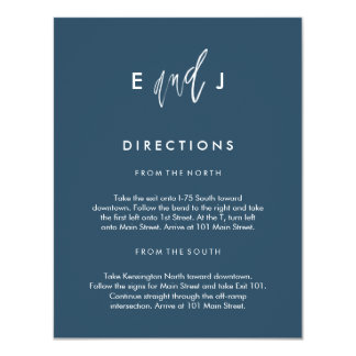 She and Him   Wedding Directions Card