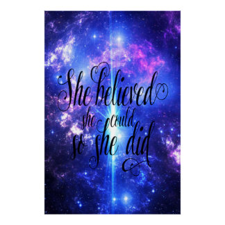She Believed in Iridescent Skies Poster