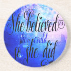 She Believed in Starry Nights Coaster