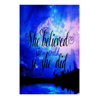She Believed in Starry Nights Poster
