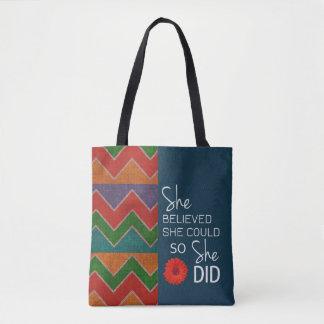 She Believed She Could (Chevron Teal Oran) Handbag