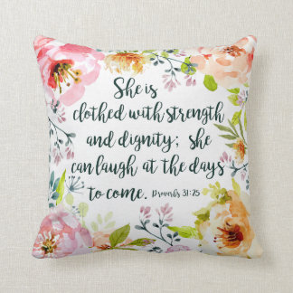 She can laugh at the days to come throw pillow