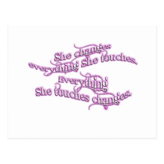 she changes everything she touches - purple glow postcard