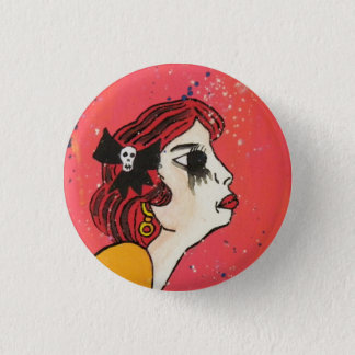 she cries from boredom 1 inch round button