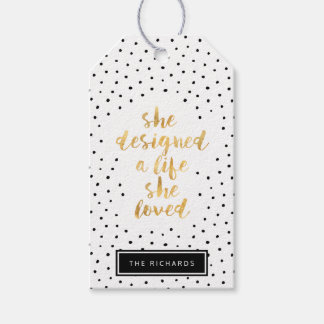 She Designed a Life She Loved with faux gold foil Gift Tags