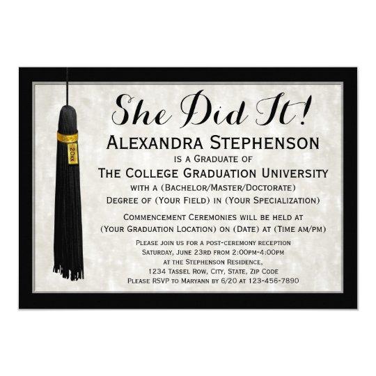 She Did It Tassel College Graduation Card