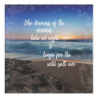 She Dreams of the Ocean Quote Acrylic Print