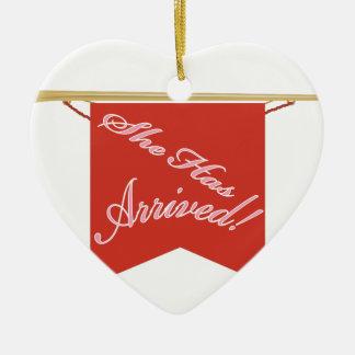 She Has Arrived Ceramic Heart Ornament