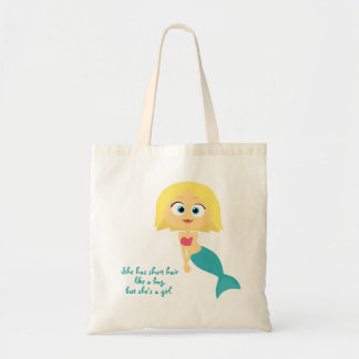 """She Has Short Hair Like a Boy…"" Tote Bags"