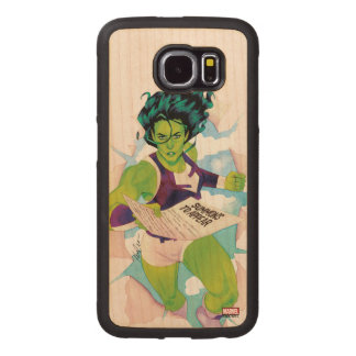 She-Hulk Delivering Summons Wood Phone Case
