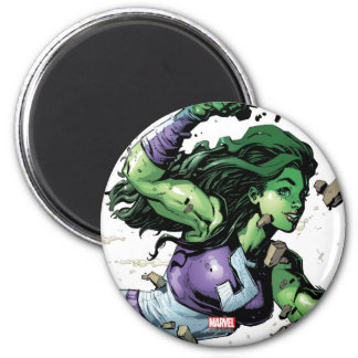 She-Hulk Smashing Through Blocks 2 Inch Round Magnet