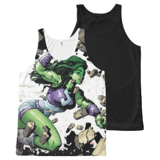 She-Hulk Smashing Through Blocks All-Over-Print Tank Top